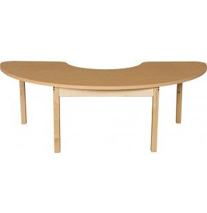 Laminate Kidney Classroom Table with Hardwood Legs