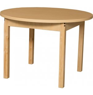 Round Laminate Classroom Table with Hardwood Legs