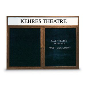 Illuminated Letter Board 2 Door w/Header Enclosed