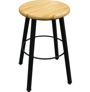 WB Welded Metal Lab Stool with Wooden Seat