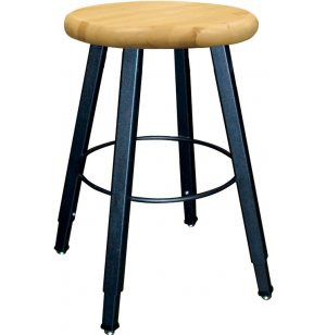 WB Adjustable Welded Metal Lab Stool- Wooden Seat