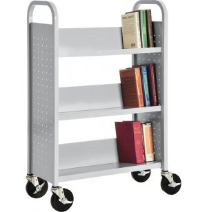 Single Sided Sloped-Shelf Book Cart, 3 shelves