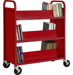 Double Sided Sloped-Shelf Book Cart