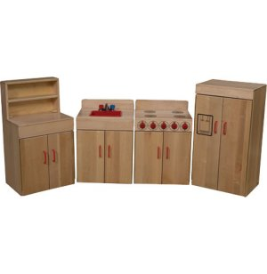 WD Solid Maple Wooden Play Kitchen Set - 4 Appliances