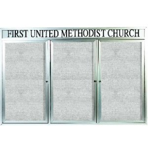 Weatherproof  Enclosed Vinyl Board 3 Door w/Header