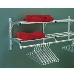 Aluminum Wall Mounted Coat Rack with 2 Hat Shelves
