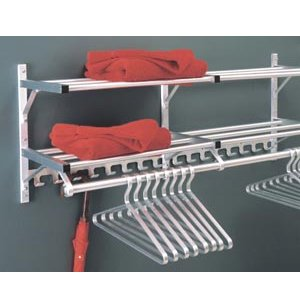 Wall Mounted Coat Rack with 2 Hat Shelves and Hooks