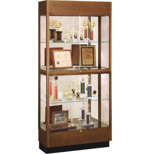 Hard Wood 2 Tier Trophy Cabinet - Mirror