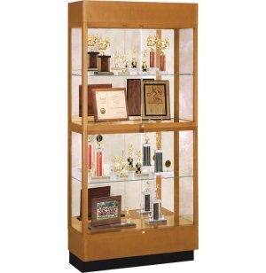 Heritage Oak 2 Tier Trophy Cabinet - Mirror