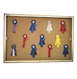 Wall Mounted Display Case w/ Plaque Fabric