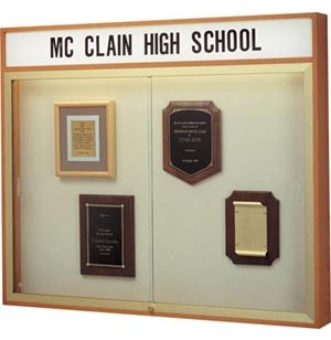 Wall Mounted Display Case w/Header and Cork