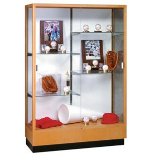 Heritage Trophy Cabinet in Hardwood w/ Mirror