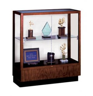 Oak Trophy Cabinet - White  Laminate Back