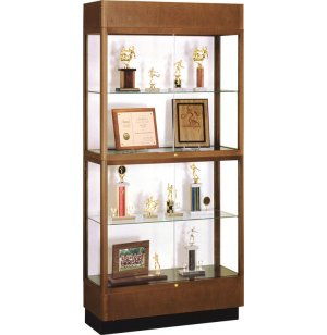 Heritage Oak 2-Tier Trophy Cabinet White Laminate
