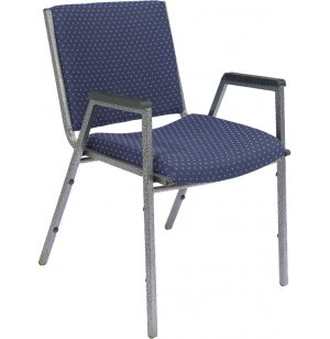 Heavy-Duty Stack Arm Chair w/Silvervein Frame