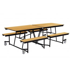 Fixed-Bench Mobile Cafeteria Table - Plywood, Chrome
