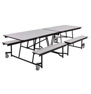 Fixed-Bench Cafeteria Table-Plywood, ProtectEdge, Chrome