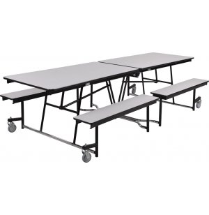 Fixed-Bench Cafeteria Table Plywood Core Vinyl Edge