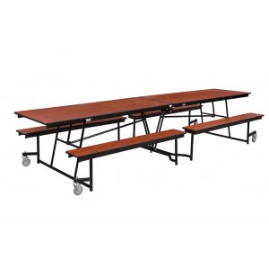 Fixed-Bench Cafeteria Table-Plywood, ProtectEdge,Chrome