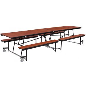 Fixed-Bench Cafeteria Table Plywood Core Protect Edge