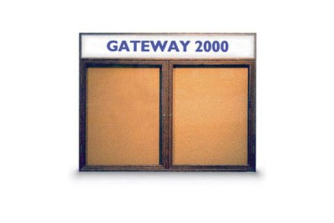 Wood Framed Enclosed Cork Boards with Header by United Visual