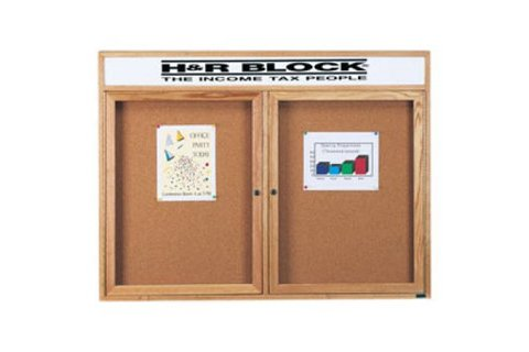 Wood Framed Enclosed Cork Boards with Header