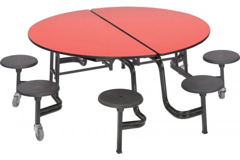 Round Mobile Cafeteria Stool and Bench Tables