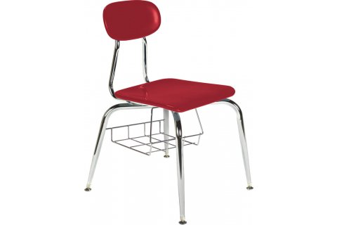 500 Series Hard Plastic Chair with Book Basket