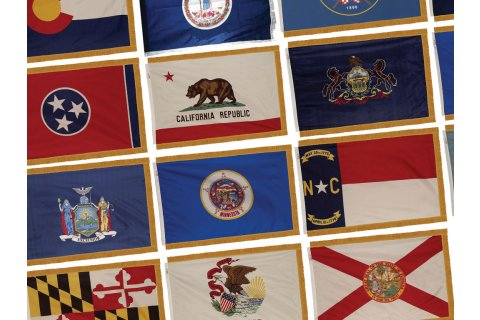 Indoor USA and State Flags