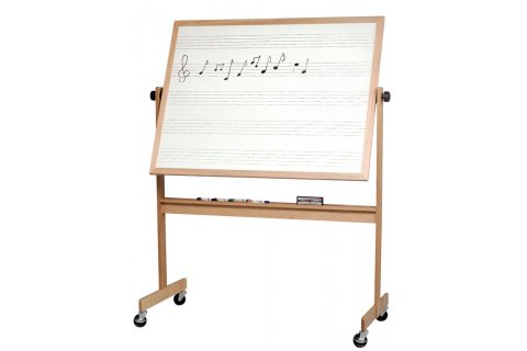 Reversible Porcelain Music Whiteboards Wood Frame