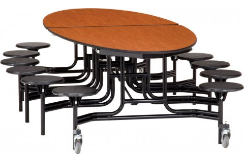 NPS Folding Oval Cafeteria Tables with Stools