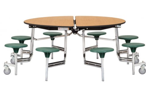 NPS Folding Round Cafeteria Tables with Stools