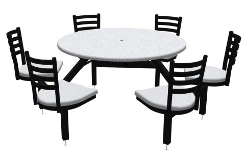 Round Outdoor Table with Cluster Seating