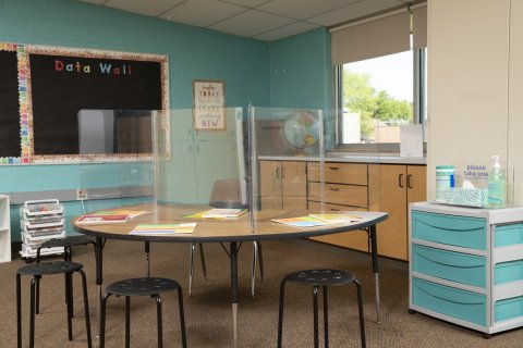 Classroom Hinged-Edge Desktop Barriers by Deflecto