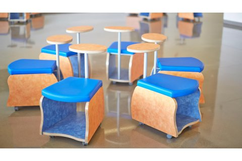 Rojon Mobile Soft Seating Storage Stools by Mediatechnologies