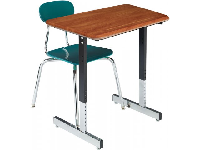 Basic Classroom Desk With T Legs Woodstone Top