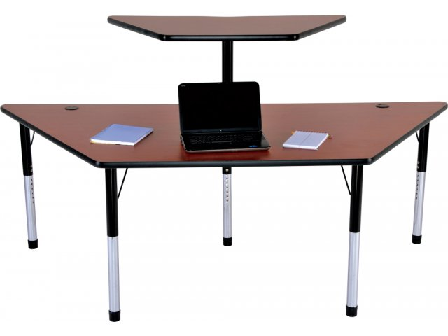 Trapezoid Computer Table With Printer Stand