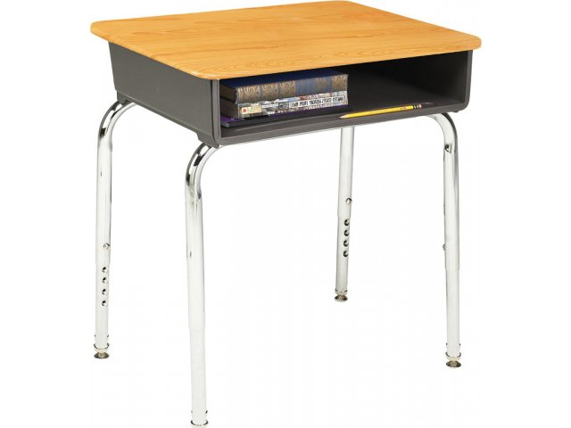 Adjustable Height Open Front School Desk WoodStone Top