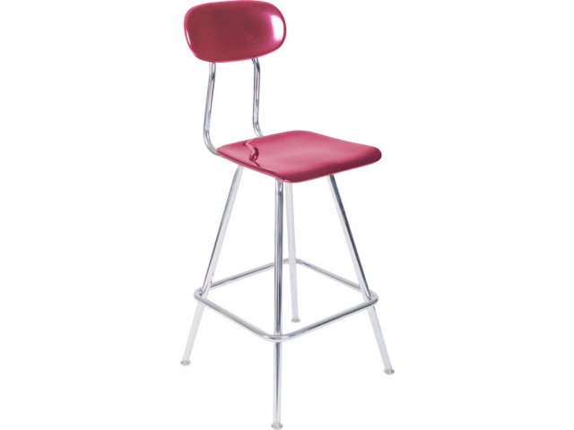 Adjustable Lab Stool With Hard Plastic Seat And Back Acs 4518awb Stools