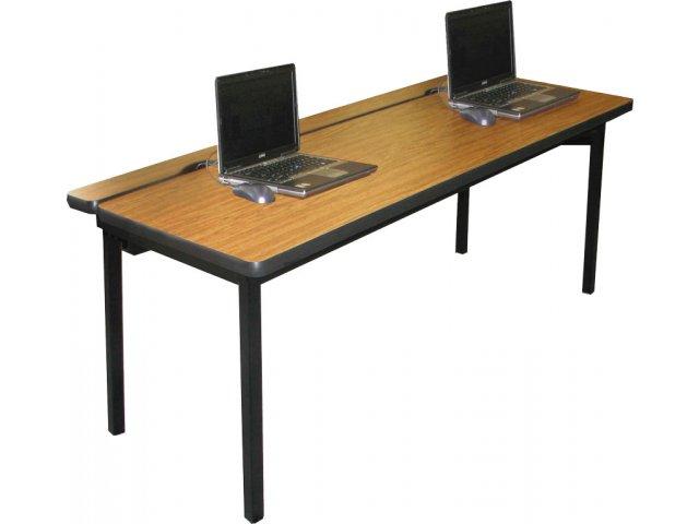 Flip top computer table 48 lx24 w flip top training tables for Flip top computer desk