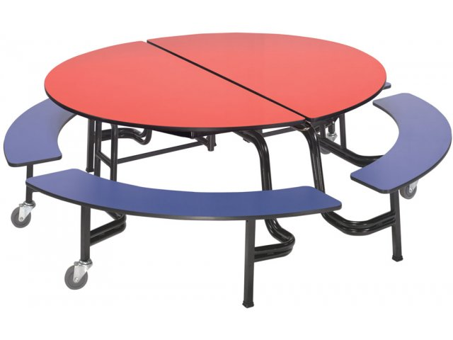 Round Mobile Bench Cafeteria Table 60 Quot Dia Cafeteria Tables