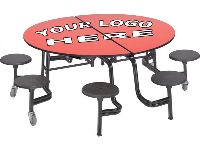 Mobile Round 8 Stool Table Plywood Top Ams 608p Cafeteria
