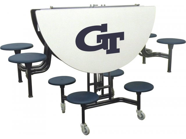 Mobile Round 8 Stool Table Ams 608 Cafeteria And Cafe Tables