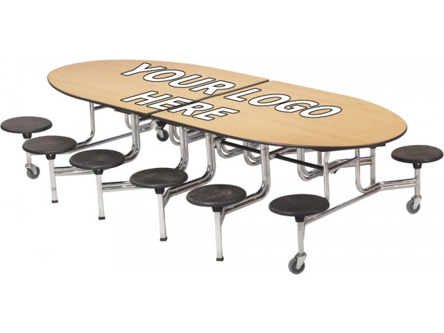 Beau Amtab Mobile Oval Cafeteria Table  DynaRock Edge, 12 Stools