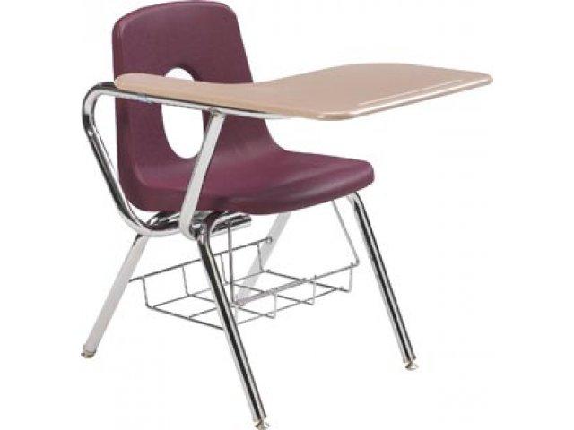 Tablet Arm Chair Desk WoodStone Top 16 H Student Chair Desks