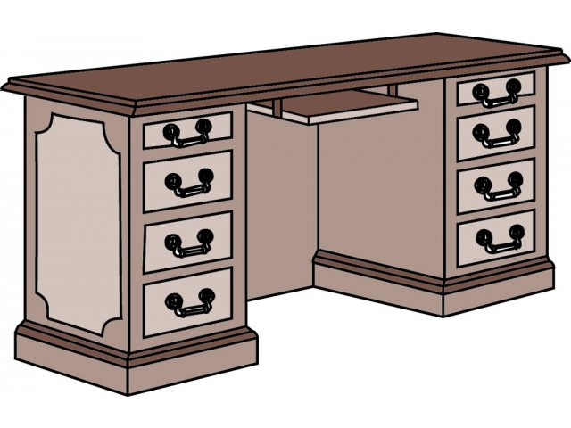 Bedford Office Computer Credenza With Keyboard Tray