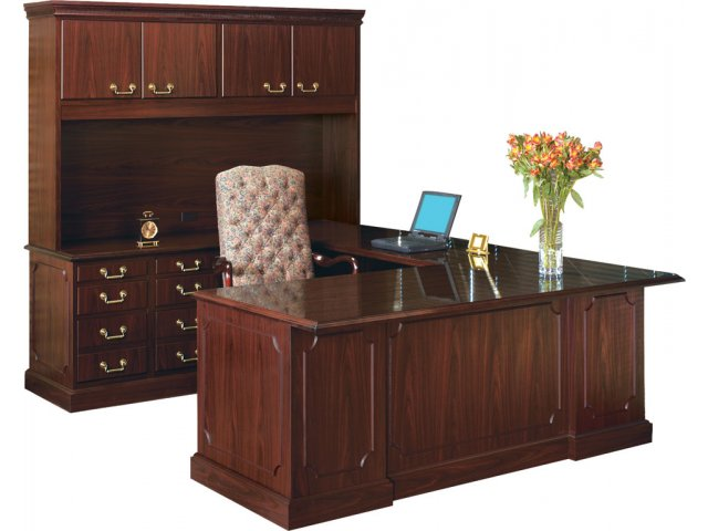 bedford u desk w left return hutch bed 72108l office desks