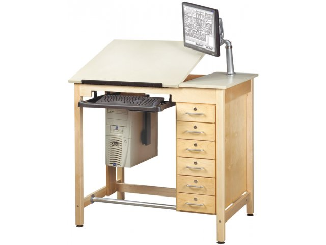 Cad Drawing Table W Storage Drawers Cdt 4230d Drafting