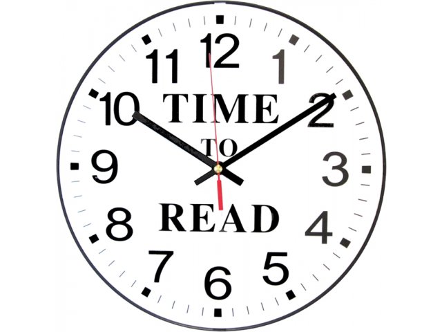 Time to Read Classroom Wall Clock 12