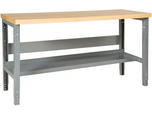 Adj Height Steel Workbench With Shelf Maple Top